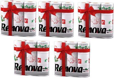 Koop Goedkoop Renova White Print 3 Ply Christmas Xmas Toilet Tissue Paper Rolls (45 Rolls) Verfrissing