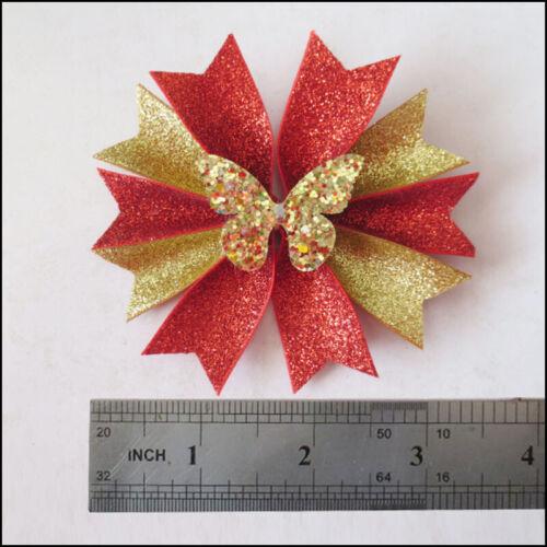 "20 Girl 3.5/""  Gold Granule Fairy Hair Bow Clip Crown Heart Star Butterfly Baby"