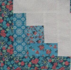Details About Quilt Top Block Kit 16 Precut 8 5 Log Cabin Blocks Patchwork Teal Floral Usa
