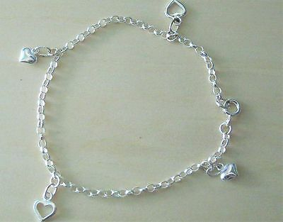 925 Sterling Silver Fancy Puffed Heart Bracelet Anklet 9 inches