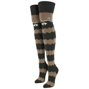 c0e89d32275 Socksmith Women s Over The Knee Socks Raccoon Brown Striped Novelty ...
