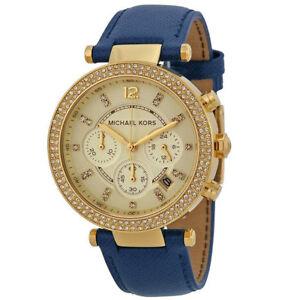 New-Michael-Kors-MK2280-Ladies-Parker-Chronograph-Designer-Blue-Belt-39mm-Watch