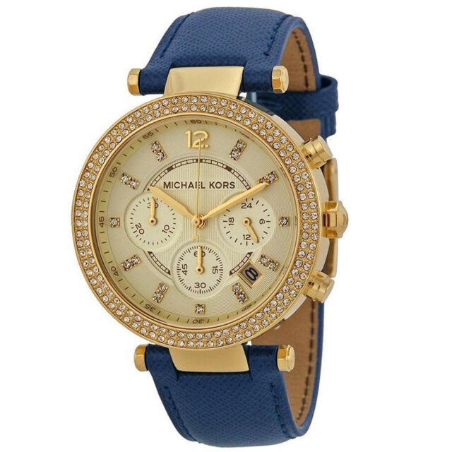 New Michael Kors MK2280 Ladies Parker Chronograph Designer Blue Belt 39mm Watch