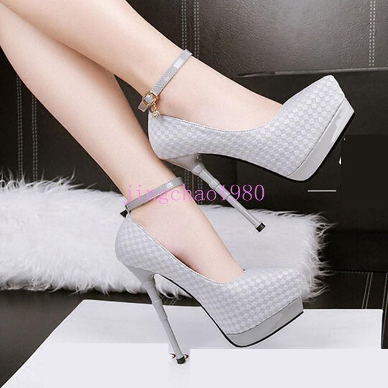 Moda Mujer Stiletto Club nocturno nocturno nocturno Plataforma Zapatos Stiletto Sexy de Fiesta Correa De Tobillo Ch  en venta en línea
