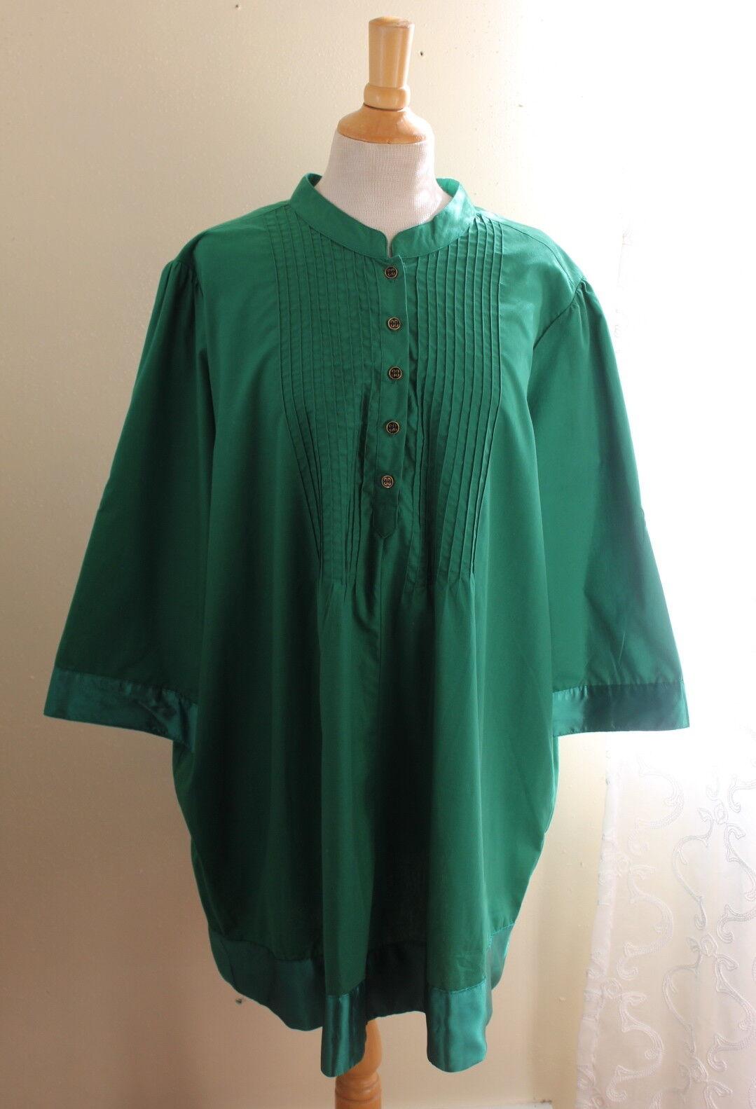 Denim 24 7 -24W 2X Elegant Grün Pleated Pintucked 34  Long Cotton Artsy Tunic