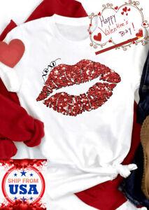 3D Print Red Lips Kiss Xo Xo Love Graphic Casual Short Sleeves Cute T Shirt Tee