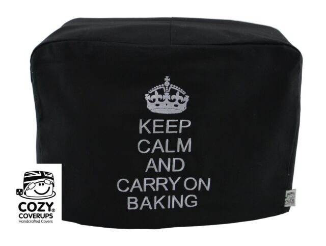 EMBROIDERED Kitchenaid Artisan Keep Calm ..Baking Black Food Mixer Cover