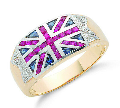 Union Jack Ring Men's Diamond Ruby And Sapphire Ring Gents Yellow Gold Ring