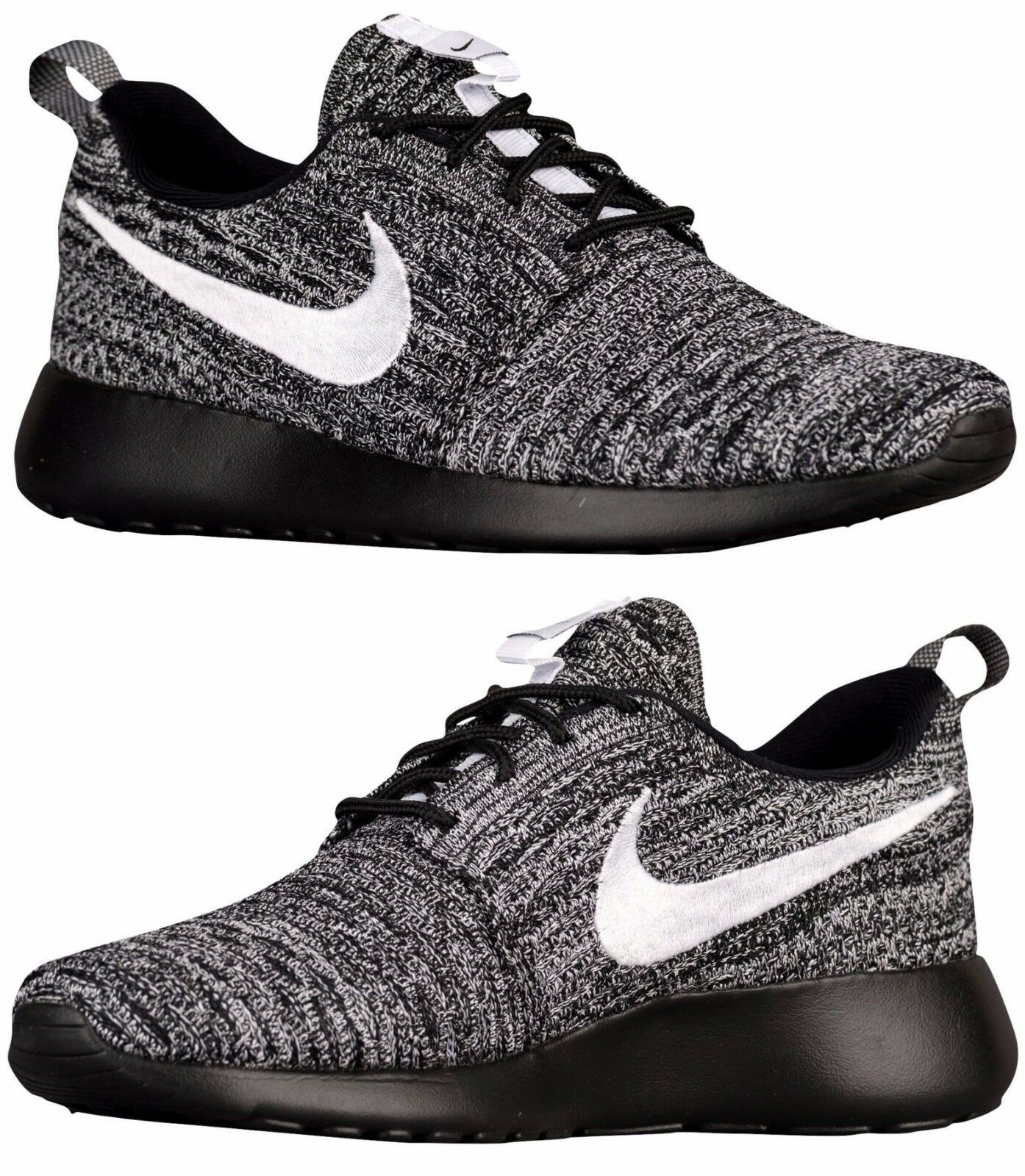 NIKE ROSHE ONE ONE ONE FLYKNIT CASUAL WOMEN's RUNNING MESH BLACK - WHITE AUTHENTIC NEW 5ce96f