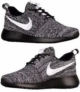50cb56c217c4 NIKE ROSHE ONE FLYKNIT CASUAL WOMEN s RUNNING MESH BLACK - WHITE ...