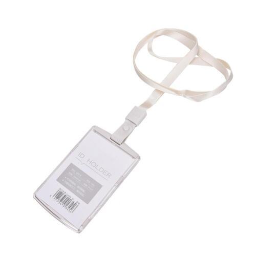 Vertical Transverse Clear Plastic ID Name Card Holder Work Badge w// La/>f