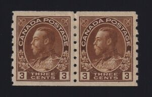 Canada Sc #129ii (1918) 3c yellow brown Admiral Coil Pair Mint VF H