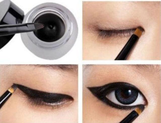 Waterproof Black Eye Liner Eyeliner Shadow Gel Makeup Cosmetic Brush