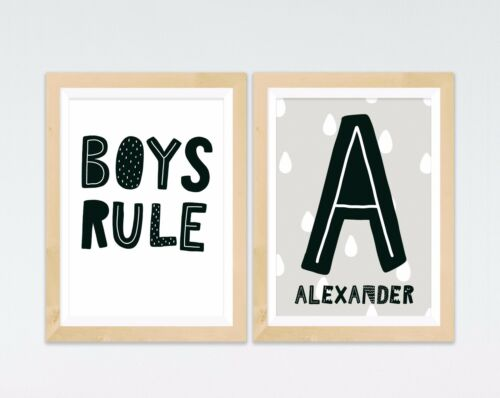 Personalised Boys Name Prints Black /& White Kids Room Wall Art Birthday Gift
