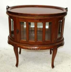 Mahogany-Oval-Chocolate-Vitrine-Curio-Table-with-Tray-30-034-h-x-28-1-2-034-w-x-19-034-d