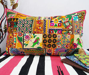 Indian-Cushion-Cover-Home-Decor-Throw-Pillow-Sham-Embroidered-Decorative-Cotton