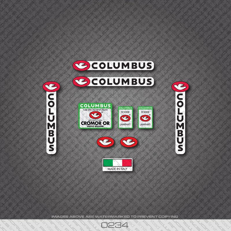 0234 Columbus et CROMOR OR Vélo Cadre et Columbus Eourchette Autocollants dfd1f1