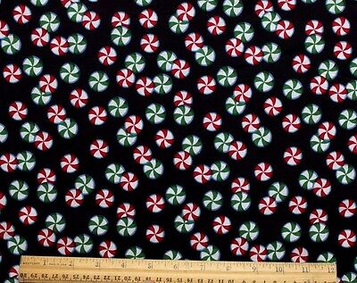 RED/GREEN PEPPERMINT PINWHEEL CANDY on BLACK *HOLIDAY FABRIC100% Cotton* BTY