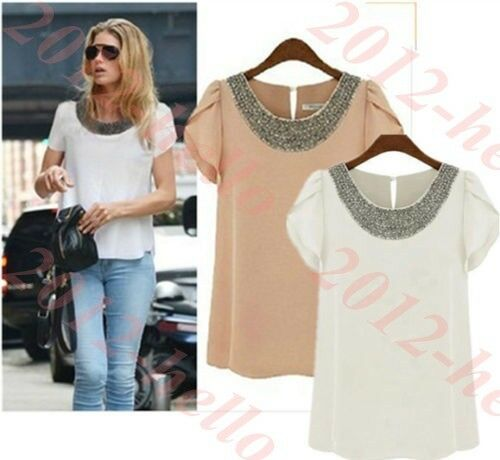 Fashion Women Chiffon Short Sleeve T Shirt Tops Plus Size Ladies' Beads Blouse