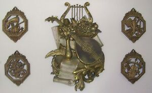 HOMCO SYROCO 5 Pc Mid Century 1971  Plastic Gold Music Sculpture Wall Plaque Art