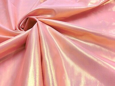 """Coral Pink & Gold Metallic 2-Sides Fabric 44""""W Wedding Decor Chair Table Cover"""