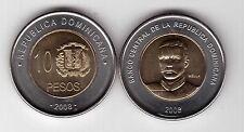 DOMINICAN REPUBLICA - BIMETAL 10 PESO UNC COIN 2008 YEAR KM#106