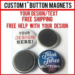 5 Custom 1 Inch Button Magnets Indie Bands Rock Pinback Promotional 25mm
