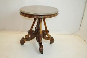 Victorian-Eastlake-Renaissance-Revival-Marble-Top-Table-with-Carved-Walnut-Base