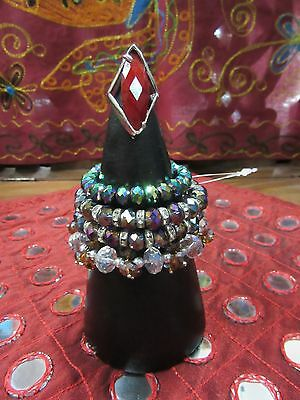Handmade Indonesian Hardwood Bracelet Ring Cone Display Holder Brown 20cm