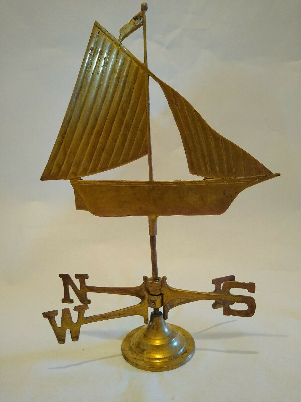 Antique Copper and Brass Sailboat Weathervane on Stand