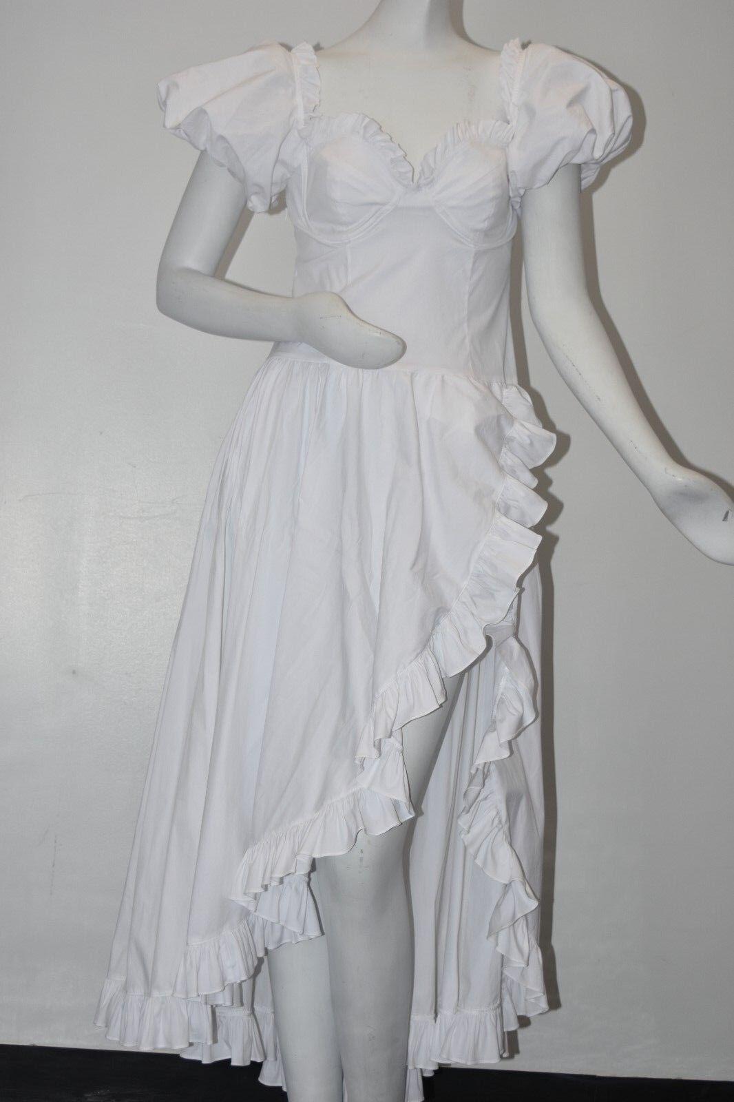 NEW CAROLINE CONSTAS White Cotton High Low Slit Full Maxi Dress Ruffles  S