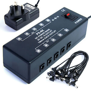 guitar effects pedal 10 way power bank supply for guitar effects pedals 9v dc 5060229072870 ebay. Black Bedroom Furniture Sets. Home Design Ideas