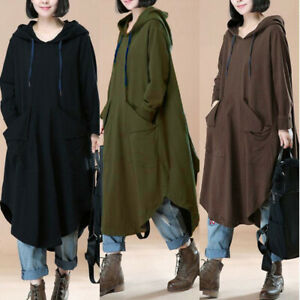 Mode-Femme-Sweat-shirt-Robe-a-capuche-Loose-Manche-Longue-Irregulier-Dresse-Plus