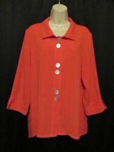 Fridaze-Linen-Tunic-Blouse-Top-Orange-Asymmetrical-Lagenlook-M-Medium