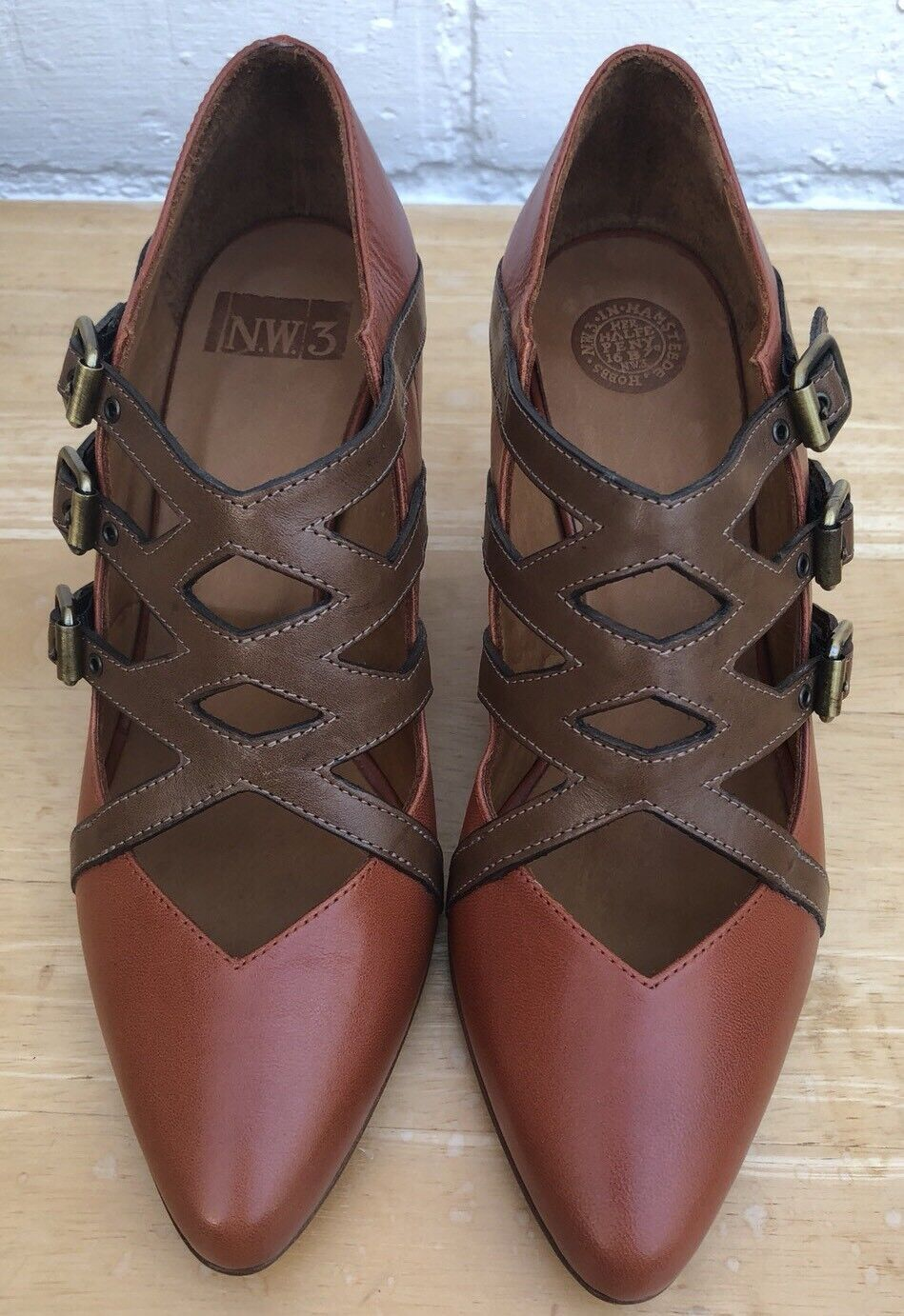 New Hobbs NW3 Court Court Court shoes 3 36 Tan Brown Leather Block Heel Pointy e3fa34