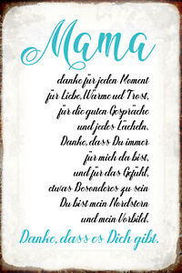 Mama Thanks For Tin Sign Shield Arched Metal 20 X 30 CM R0862