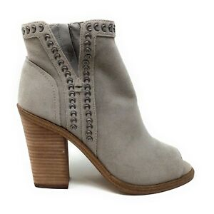 Vince-Camuto-Womens-VC-Kemelly-Peep-Toe-Ankle-Boots-Cement-Distressed-Size-6-M