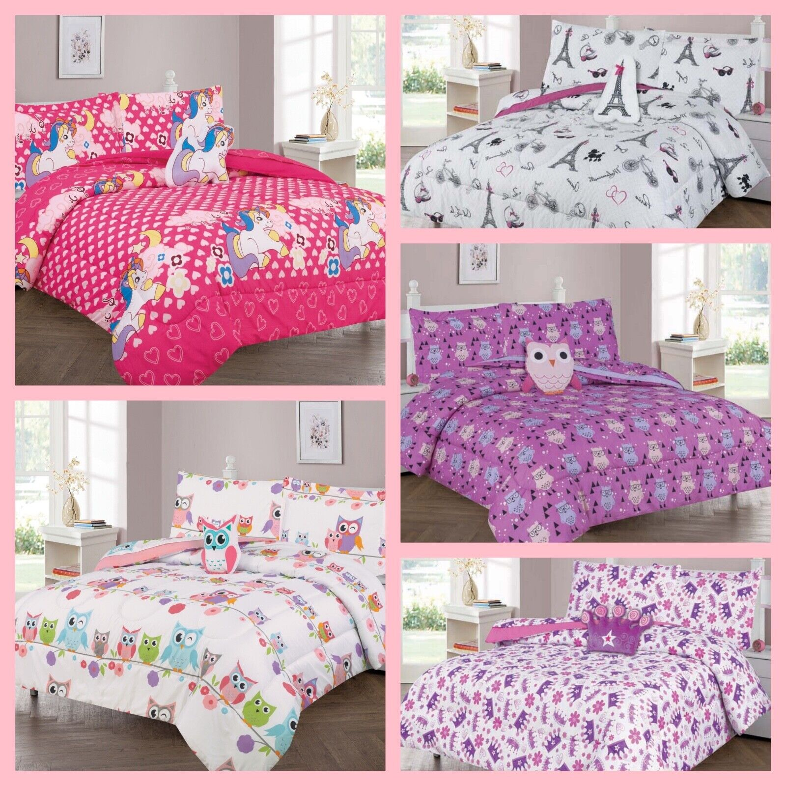 Kids Bedding Sets Girls Bedroom Decor Purple Twin Bed Comforter Set Butterfly For Sale Online Ebay