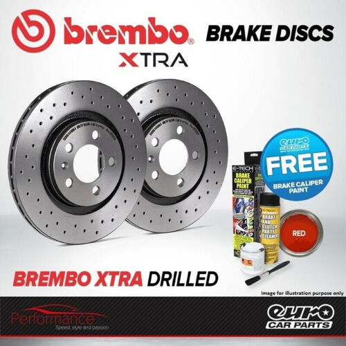 Brembo Xtra Front Vented High Carbon Drilled Brake Disc Pair Discs x2 09.A427.1X