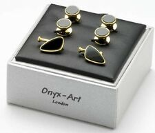 Gold  and Black Onyx Cufflinks and Dress Studs New in a Gift Box  Ref 20366