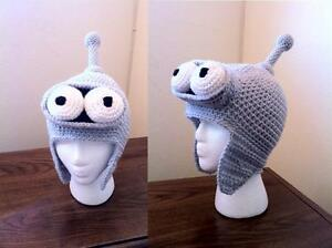 Image is loading Hand-Crochet-Futurama-Bender-Hat-Beanie-Made-to- b8bfb04f008