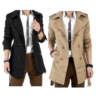 Men's Winter Slim Double Breasted Trench Coat Long Jacket Overcoat Outwear Hot