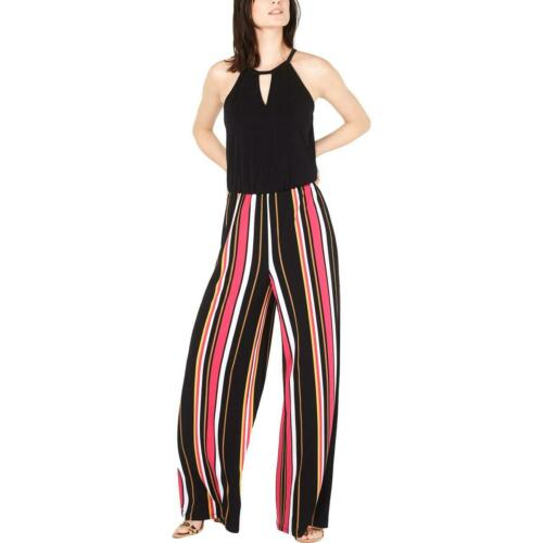 INC Womens Black Striped Sleeveless Wide Leg Jumpsuit XL BHFO 7587
