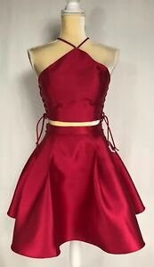 B. Darlin Dress Two Piece Crop Top 0, 1/2, 3/4, Prom Homecoming Red New