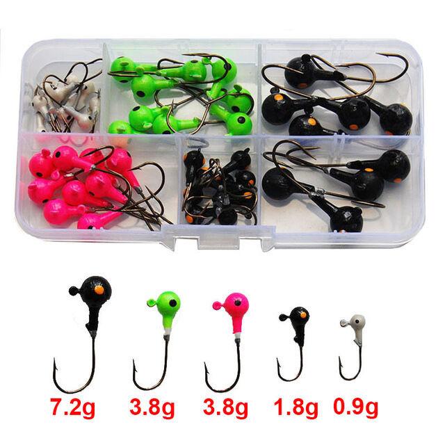 15/25PC 0.9g-10.5g Lead Jig Head Hook Jig Ball Double Eye Hook Hard Fishing Lure