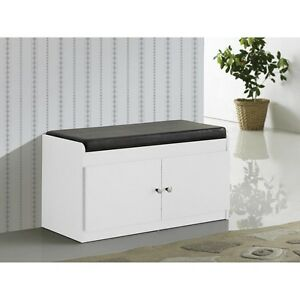 Pleasing Details About White Entry Way Shoe Bench Storage Cushioned Padded Seat Hall Mudroom Cabinet Dailytribune Chair Design For Home Dailytribuneorg