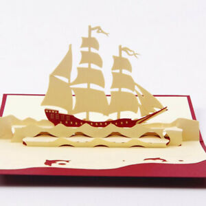 Handmade-3D-Sailing-Ship-Boat-Greeting-Card-Happy-Birthday-Mid-Auntum-Gift