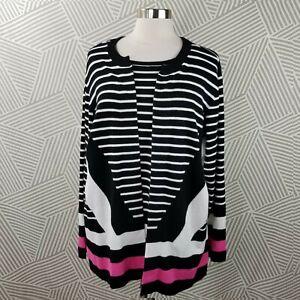 CJ-Banks-plus-size-2X-18-20-Cardigan-Pullover-Sweater-stripe-comfort-career-open