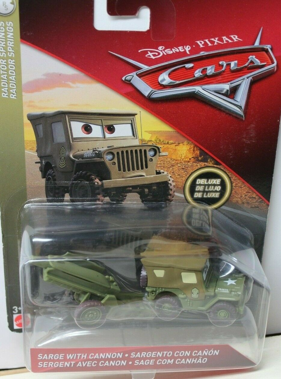 DISNEY PIXAR CARS 2018 RADIATOR SPRINGS DELUXE GREEN SARGE WITH CANNON NEW HTF!