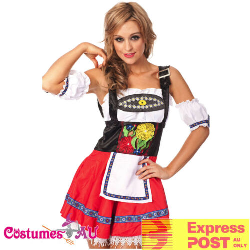 Ladies Embroidery Oktoberfest Costume Red German Beer Maid Lederhosen Wench